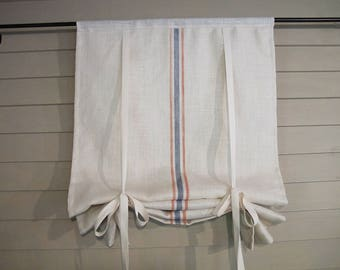 "White Burlap Tie Up Shade with Painted Stripes 36"" long Rustic Curtain Modern Farmhouse Black Minimalist Simplicity Plain Window"