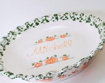 Pumpkin Pie Dish - Personalized Pie Plate - Thanksgiving Pie Plate - Fall Pie Dish - Personalized Ceramic Pie Dish - Personalized Bakeware