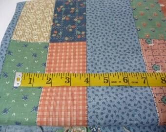 Vintage Patchwork Print Fabric, Schwartz Liebman Tex, Over 2 Yards, Sewing Fabric, Sewing Supplies, Blue Green Peach Beige, Flowered Fabric