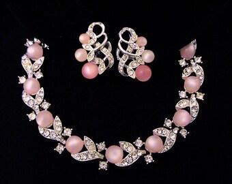 Vintage LISNER Pink Moonglow and Crystal Rhinestone Bracelet Earrings Set