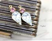 Vintage Rhinestone Teardrop Set Stones Brass Settings Earring Dangles Rhinestone Charms 21x8mm Antique Pink & Crystal - 2 .