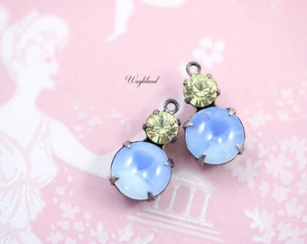 Set Stones Vintage Round Glass Drops 1 Ring 15x9mm Silver Antique Brass Prong Settings Light Blue Opal & Canary Swarovski Crystal - 2
