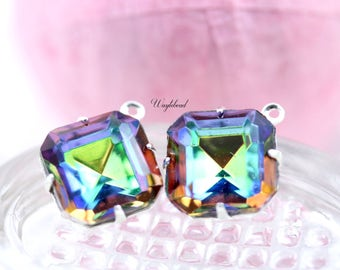Vitrail Medium 12x12mm Vintage Glass Square Octagon Drop Set Stones 1 Ring Brass Settings - 2