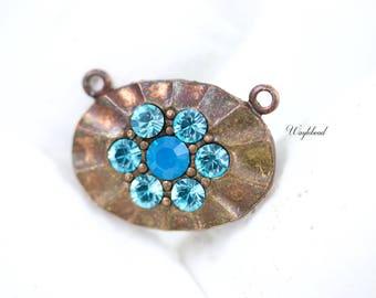 Aqua & Caribbean Blue Opal 2 Loops Oval Swarovski Rhinestone Brass Necklace Pendant - 1