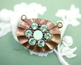 Chrysolite & Chrysolite Opal 2 Loops Oval Swarovski Rhinestone Brass Necklace Pendant - 1