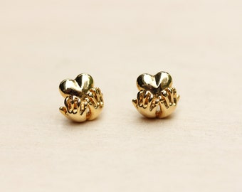 Vintage Heart in Hand Studs