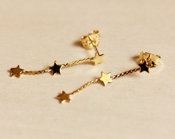 Star Chain Earrings, Chain Studs, Gold Star Studs, Star Studs, Chain Dangle Earrings, Star Earrings, Chain Earrings, Star Stud Earrings