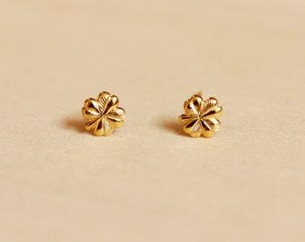Tiny Gold Clover Studs