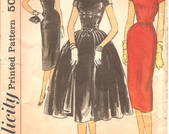 Vintage 50s Simplicity 1873 Misses Sheath Dress with Overskirt Sewing Pattern Size 14 Bust 34