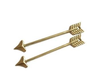 2 Pieces Brass Straight Arrow Pendant, 8x48mm
