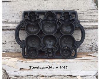 Cast Iron Mold - Vintage Mold - Vintage Cast Iron - Snowman - Muffin Pan - Cast Iron Muffin Pan - Vintage Muffin Pan - Vintage Christmas