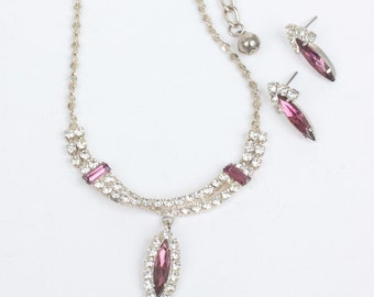 Raspberry Pink and Clear Rhinestone Necklace Earrings Set Vintage