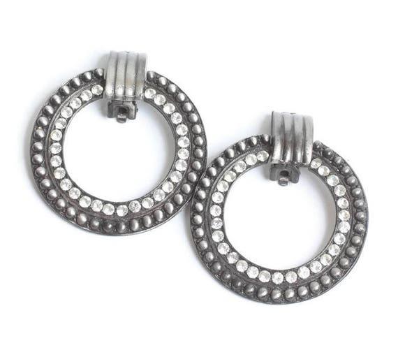 Large Circle Hoop Earrings Rhinestones Dots Clip On Door Knocker Vintage