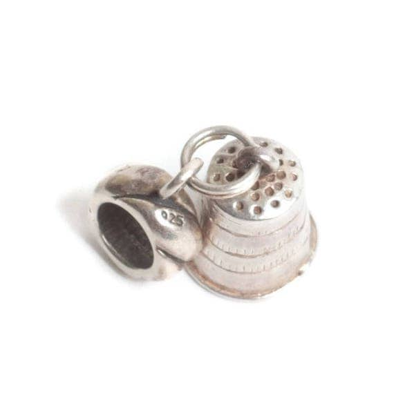 Sterling Silver Thimble Charm Large Hole for European Charm Bracelet Adapter Bead