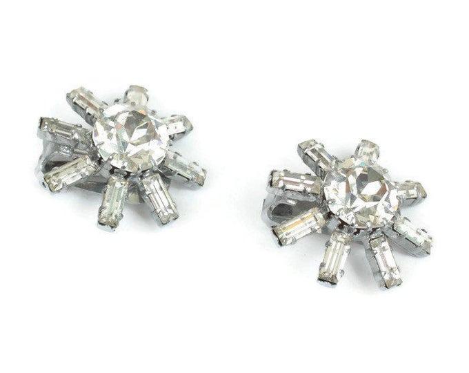 Clear Rhinestone Star Shaped Earrings Signed Austria Clip On