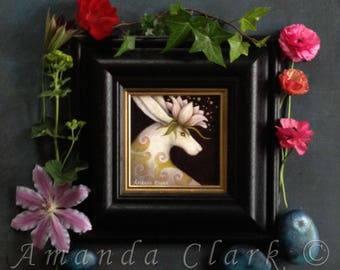 Framed original painting.  Titled 'Fleur' by Amanda Clark.
