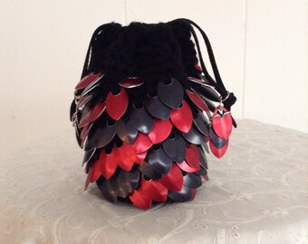 """Dragon Scale Dice Bag or Change Purse in Black with Black and Red Metal Scales - 5""""H x 3""""D"""