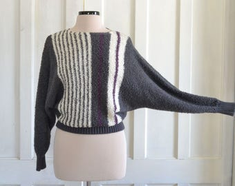 80s Sweater Dolman Sleeve Boucle Knit Slouchy Sweater Boat Neckline Cropped