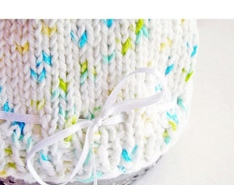 HOLIDAY SALE - Photo Prop Baby Hat Hand Knit Cotton White Satin Ribbon Aqua Yellow Green Umbilical Knot