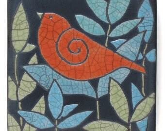 Bird,poppy red,Ceramic tile,Whimsical, handmade, wall art, home decor 34x4 inch raku fired art tile
