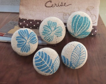 Natural Sketched Lined Mint Blue Flower Floral Leaf Leaves Plants Garden - Handmade Fabric Covered Buttons(0.98 Inches, 5PCS)