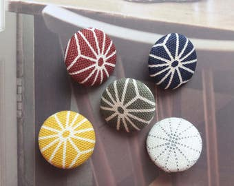 Japanese Traditional Zen Style Geometry Ginger Yellow Dark Red Blue Green Asanoha Floral-Handmade Fabric Covered Buttons(0.75 Inches, 5PCS)