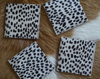 Snow Leopard Cowhide Leather Coasters - Set of 4