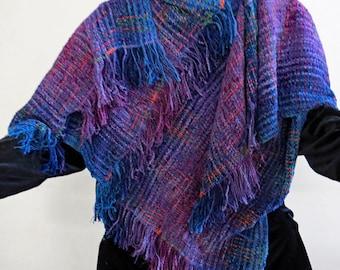 RUANA Jewel Colored  Handwoven Handmade Chenille Blue, purple