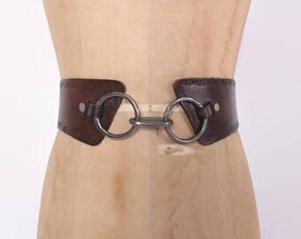 Vintage 70s Tooled BELT / 1970s Wide Brown LEATHER Boho Belt