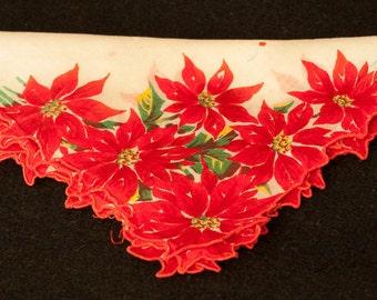 Pointsetta Christmas Vintage Handkerchief