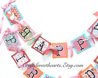 Happy Birthday Banner Woodland Themed Party Decoration