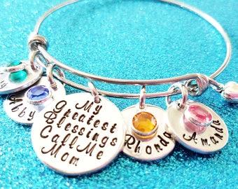 Personalized Mother Bracelet, Mom Gift, Mom Jewelry, My Greatest Blessings, Name Bracelet, Grandma Bracelet, Grandma Gift, Birthstone Bangle