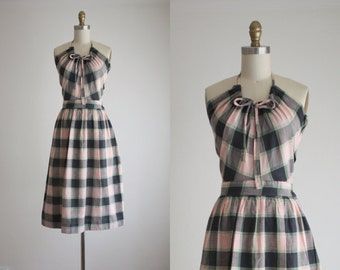 1950s plaid halter dress