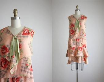 1920s sage rose blooms dress