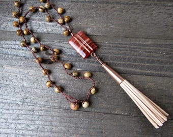Layered Agate Focal Bead Wire Wrapped in Copper with Swede Tassel on Hand Crochet Beaded Cord. Tassel Necklace - BOHO - Trendy