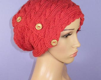 50% OFF SALE Instant Digital File pdf download Knitting Pattern- Sideways Button Up Cable Slouch Hat pdf download knitting pattern