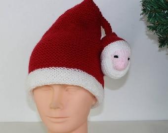 50% OFF SALE madmonkeyknits - Childrens Santa Head Christmas Hat knitting pattern pdf download - Instant Digital File pdf knitting pattern