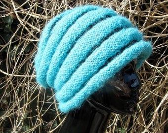 50% OFF SALE Instant Digital File pdf download knitting pattern- - Chunky Roll Brim Beehive Stripe Slouch Hat pdf download knitting pattern