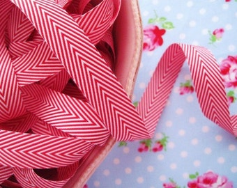 Chevron Striped Twill - Red and White - Ribbon - 3/4 inch - 2 Yards