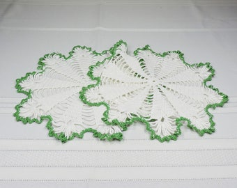 Vintage Hand Crocheted White and Green Doilies 2 Pieces