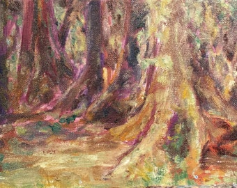 Ancient Lifegiver - Forest - Tiny Impressionist Painting - Affordable Art - Miniature Oil Painting on Canvas - Original Artwork - Alla Prima