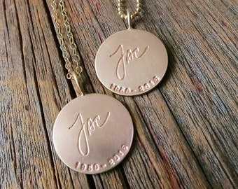 Engraved Handwriting Pendant Solid Gold Custom Everyday Necklace Personalized Memorial Commemorative Jewelry Hand Stamped Fine 14K Unique