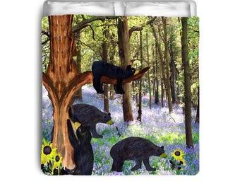 Black bears in field comforters from my art