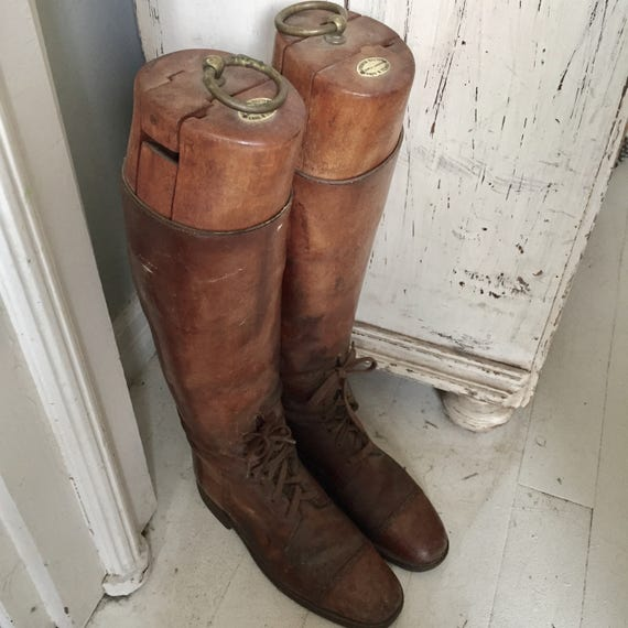 Antique Melton Mowbray Riding boots with full wooden lasts, all leather, wood liners