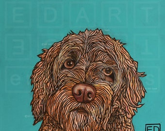 228 Scooter, a labradoodle X spoodle – folded art card 15x15cm/6x6inch with envelope