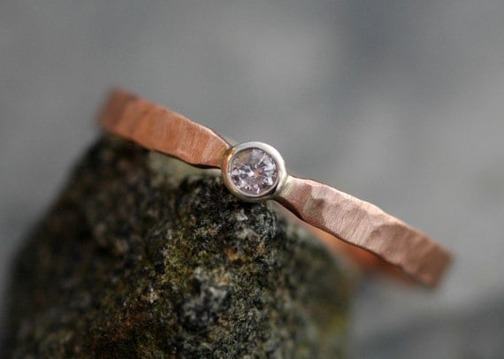 ON SALE- Natural Pink Argyle Diamond in Recycled 14k Rose and White Gold Ring- Ready to Ship Size 8.5