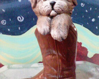 Dog in cowboy boot Ceramic hand painted brown