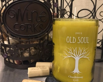 Recycled Wine Bottle Candle - OLD SOUL - Soy Candle - Scent Warm Vanilla
