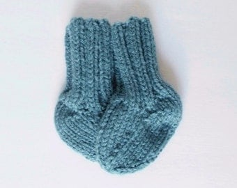 Baby Crew Socks, Newborn Infant Size 0 to 3 Months, Hand Knit Warm Winter Boy Girl Clothes, Ready To Ship, Gender Neutral Baby Shower Gift