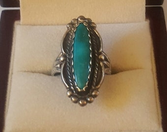 Vintage Sterling Silver and Turquoise Marquis Ring Size 7 1/2